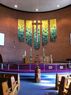 New Green Banners for the Season of Pentecost at Zion Lutheran church Youngstown, OH