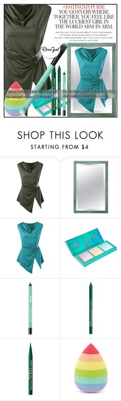 """Sleeveless Asymmetric Cowl Neck T-shirt"" by aida-ida on Polyvore featuring Kate Spade, Lime Crime, NYX, Too Faced Cosmetics, Forever 21, casual, Sleeveless, Tshirt, plussize and rosegal"