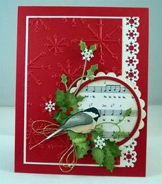 christmas card with bird on a branch, chickadee, winter bird, christmas bird Christmas Bird, Christmas Paper, Handmade Christmas, Christmas Crafts, Christmas Music, Xmas Cards, Holiday Cards, Origami, Winter Karten