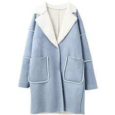'Cory' Faux Suede Coat (2 Colors) (3 465 UAH) ❤ liked on Polyvore featuring outerwear, coats, faux suede coat and blue coat