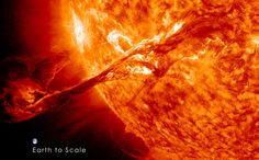 2012, Aug 31: massive solar eruption captured by NASA. The coronal mass ejection, or CME, traveled at over 900 miles per second. The CME did not travel directly toward Earth, but did connect with Earth's magnetic environment, or magnetosphere, causing aurora to appear on the night of Monday, September 3.  The image above includes an image of Earth to show the size of the CME compared to the size of Earth. |  Credit: NASA/GSFC/SDO