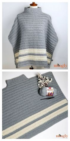 Poncho is an ideal element for autumn and winter time. It is elegant, cozy and w. Poncho is an ideal element for autumn and winter time. It is elegant, cozy and warm. Looks great in any color. Crochet Poncho Patterns, Crochet Scarves, Crochet Shawl, Crochet Clothes, Crochet Stitches, Knitting Patterns, Knit Crochet, Autumn Crochet, Crochet Turtle