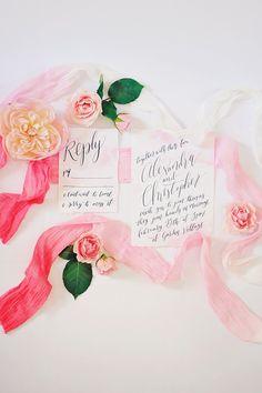 wedding invitation calligraphy - photo by ArinaB Photography http://ruffledblog.com/soft-and-modern-wedding-inspiration