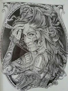 Chicano Style Tattoo Source by Gangster Tattoo, Chicano Style Tattoo, Chicano Tattoos, Tattoos Skull, Neck Tattoos, Sleeve Tattoos, Foot Tattoos, Gangster Gangster, Skull Girl Tattoo