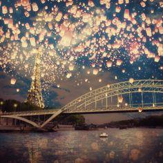 Love Wish Lanterns over Paris by Paula Belle Flores #art #paris