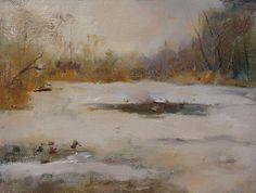 Millers Pond, plein air 6x8 oil on board
