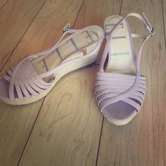 "Elle pretty lavender 3"" wedges with free gift!   Great for this spring or summer!  Good condition. Free earrings included. Elle Shoes Sandals"