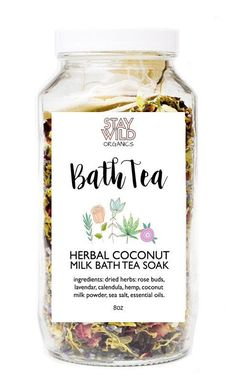Our specially curated herbal coconut milk tea bath soak is made with organic dried rose buds, candula flowers, hemp oil and lavender flowers. Its infused with c (diy bath salts coconut) Coconut Milk Tea, Coconut Milk Powder, Diy Beauté, Diy Spa, Bath Tea, Milk Bath, Branding And Packaging, Soap Packaging, Bath Recipes