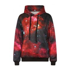 Galaxy Print Long Sleeve Red Hooded Sweatshirt ($37) ❤ liked on Polyvore featuring tops, hoodies, sweatshirts, shirts, sweatshirt, jackets, long sleeve tops, red hoodies, long sleeve shirts and galaxy hoodie