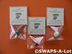 """Frazzled Leader . small bag, marble and a sign that says """"FRAZZLED LEADER - lost my marbles - have you seen them ?"""""""