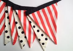 Vintage Circus Fabric Pennant Banner in Black, White, Red-Orange and Cream. Circus Stripes and Polka Dots. Halloween Banner. Fall Decor.