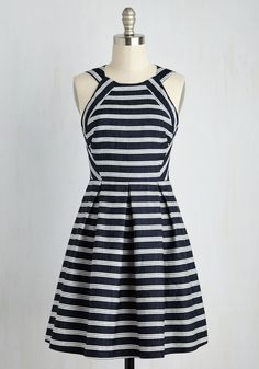 I Yacht So! Dress - Blue, White, Stripes, Print, Casual, Nautical, A-line, Sleeveless, Spring, Woven, Good, Mid-length