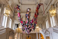 Joana Vasconcelos / Mary Poppins, 2010 / Handmade woolen knitting and crochet, industrial knitted fabric, fabrics, ornaments, polyester, steel cables