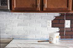 Diy faux brick backsplash kitchen ideas you should not miss enter Whitewash Brick Backsplash, White Brick Backsplash, Glass Subway Tile Backsplash, Backsplash Wallpaper, Paint Backsplash, Herringbone Backsplash, Kitchen Backsplash, Backsplash Ideas, Granite Backsplash