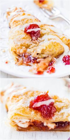 Cherry Cream Cheese Turnovers w/ Vanilla Cream Cheese Glaze - Bakery-quality turnovers at home in 20 minutes! So easy super good! Instead of cherries I want to use guava. Just Desserts, Delicious Desserts, Dessert Recipes, Yummy Food, Cannoli, Vanilla Cream, Vanilla Glaze, Strudel, Little Lunch