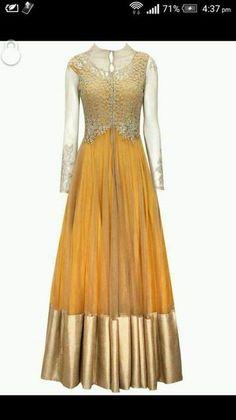 Gold thread work full sleeves jacket on a plain Anarkali