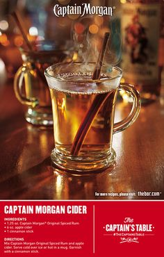 Captain Morgan® Spiced Cider with Captain Morgan® Original Spiced Rum Fancy Drinks, Bar Drinks, Cocktail Drinks, Yummy Drinks, Alcoholic Drinks, Beverages, Spiced Cider, Spiced Rum, Apple Cider