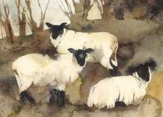 Winter Sheep - kate osborne Artist Artwork Gallery, Watercolour, animals, chickens, still life Sheep Paintings, Animal Paintings, Watercolor Animals, Watercolor Paintings, Watercolours, Arte Grunge, Sheep Art, Guache, Illustration