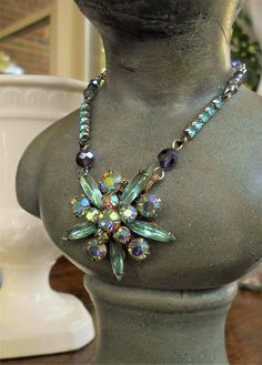 c004f6bd2739 Vintage assemblage necklace Aquamarine rhinestone layered pendant Vintage  navettes aurora borealis rounds 1950s upcycle one-