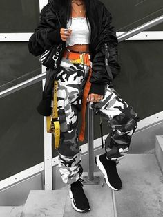 Waisted Camouflage Cargo Trousers Camo Pants baggy camouflage pants for women swag trousers street style chic joggers fall. Fall Sale Plus Extra OFF baggy camouflage pants for women swag trousers street style chic joggers fall. Fall Sale Plus Extra OFF Grey Camo Pants, Camo Pants Outfit, Camouflage Pants, Edgy Outfits, Mode Outfits, Cute Casual Outfits, Fashion Outfits, Womens Fashion, Casual Clothes