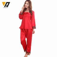 639bba7ca2 Womens Silk Pajamas Sets Spring Summer Female Lace Embroidered Satin  Pyjamas Sleepwear Loungewear L-3XL