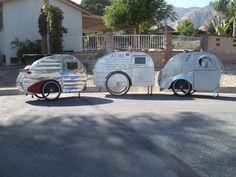 Mk II, Mk IV, and Mk V WWE trailers together. Bike Cargo Trailer, Cargo Trailers, Camper Trailers, Scooter Bike, Bicycle, Tiny Mobile House, Homeless Shelters, Cargo Transport, Velo Vintage