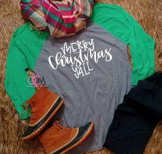 Merry Christmas Yall Raglan, Merry Christmas Y'all Shirt, Southern Christmas Shirt, Ladies Christmas Shirt, Christmas Long Sleeve Shirt- Raglan - One Crafty Momma Christmas Tee Shirts, Vacation Shirts, Silhouette Projects, Merry Christmas, Cricut Ideas, My Style, Shirt Ideas, Lady, Tees