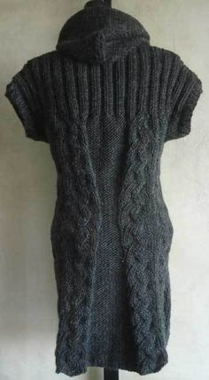 Women's Hooded Vest PDF Knitting Pattern in Lamb's Pride Bulky yarn from SweaterBabe.com.