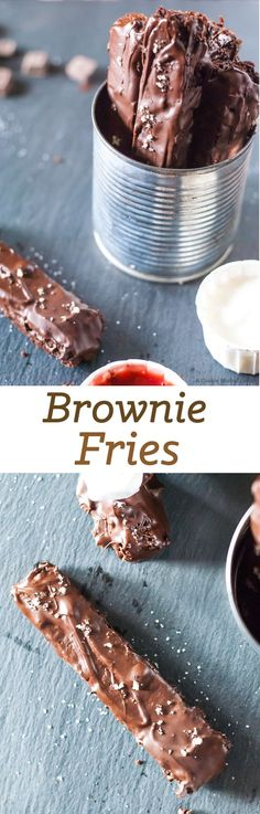 These brownie fries are the only fries you will ever want. It's like an easy brownie recipe crossed with a sweet snack. I'm in love with these chocolate desserts. Mini Desserts, Just Desserts, Delicious Desserts, Dessert Recipes, Yummy Food, Slow Cooker Desserts, Oreo Dessert, Dessert Bars, Brownie Recipes