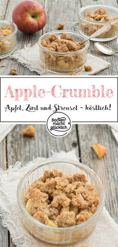 Fruity fruit under a crispy crumble topping: Apple crumble with oatmeal is simply a delicious dessert! The apple crumble tastes pure, but also great with vanilla sauce or ice cream. Crumble Source by glueckbacken . Apple Desserts, Köstliche Desserts, Dessert Recipes, Crumble Topping, Baking Recipes, Cookie Recipes, Dessert Halloween, Mousse, Recipes