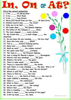 Thirty-five sentences for practicing the use of this prepositions. It may be used both for training and for a test. Key is included. English Grammar Exercises, Teaching English Grammar, English Worksheets For Kids, English Writing Skills, Grammar Lessons, English Language Learning, German Language, Preschool Worksheets, Japanese Language