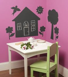 give house cut outs made with a roll of chalk board vinyl to each kid as a favor