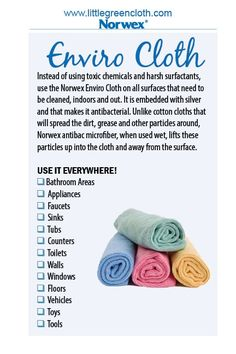 Use the Norwex Enviro cloth on all surfaces that need to be cleaned indoor and out.