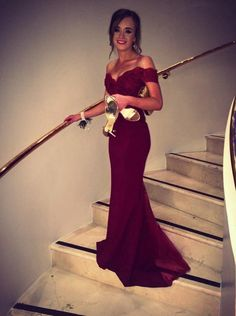 Chiffon Mermaid Prom Dress,Burgundy Off-the-Shoulder Sweep Train Lace Evening Dress,111043006
