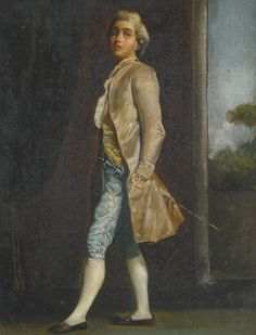 https://flic.kr/p/vmnq7M | Follower of Pietro Longhi.PORTRAIT OF A YOUNG MAN, CALLED J. CASANOVA, FULL-LENGTH, WEARING AN IVORY FROCKCOAT AND SKY BLUE BREECHES. |   oil on canvas. 26.6 by 20.3 cm.; 10 1/2  by 8 in.