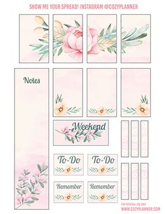 Free Printable Pretty Pink Floral Planner Stickers from Cozy Planner #happyplanner #stickers #printable #planner