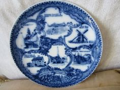 Vintage Flow Blue English Souvenir 6 Scenic Views China Plate Of Nantucket Mass