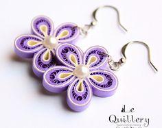 Violet Flower Filigree Earrings / Paper Quilling Jewelry - idea