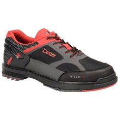 Dexter THE 9 HT (Black/Red/Grey) Men's Bowling Shoes. Dexter's state-of-the-art THE 9 footwear is equipped with a revolutionary new toe hold system that is designed to resist abrasion and can be replaced when needed, extending the life of the shoe. Innovative Hyperflex channels at two stress points on the foot provide the bowler with added flexibility and comfort and help resist sole cracking.