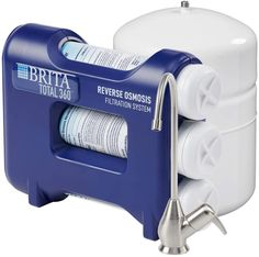 Brita BRDROS Undersink Reverse Osmosis Water Filtration System, Blue.  NSF International Certified Water Filtration The Brita Total360 Reverse Osmosis Water System is NSF International certified to reduce water contaminants such as sediment chlorine taste and odor volatile organic compounds arsenic cysts lead nitrate nitrite and radium .... Water Filtration System, Water Systems, Reverse Osmosis Water System, Water Pitchers, Under Sink, Water Flow, Water Bottle, Bottled Water, Water Filter