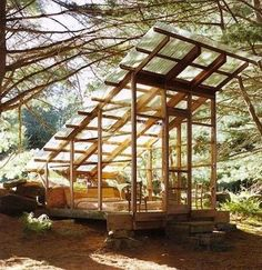 Love this open screened area with simple roof.  Source - http://freecabinporn.com/