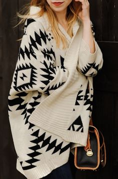 cozy: over-sized Aztec cardigan #black #white #sweater #wrap