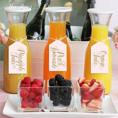 Ava Mimosa Bar Juice Drink Tags - Labels for Bubbly Champagne Bars at Bridal Shower, Wedding Party or Parties - Blush Pink & Gold Glitter
