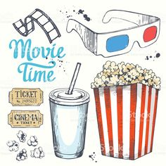 movie theater Movie time vector illustration with sketch popcorn bucket, clapperboard, glass royalty-free stock vector art How To Draw Popcorn, Corn Drawing, Popcorn Posters, Image Cinema, Movie Theater Popcorn, To Do Planner, Popcorn Bucket, Things To Draw, Bullet Journal