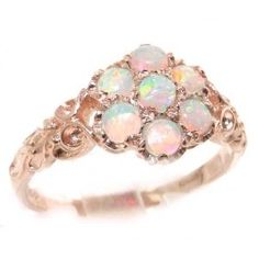 Luxury Ladies Solid Rose 9K Gold Natural Fiery Opal Victorian Daisy Ring - Size 11 - Finger Sizes 5 to 12 Available - Suitable as an Anniver...