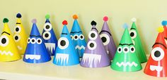 Super cute monster party hats!