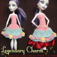 Monster High crochet dress - inspired by Alice in Wonderland and Rococo dresses - pdf pattern  #MonsterHigh #dollsclothes #crochet
