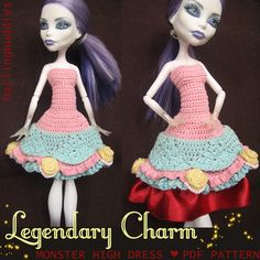 Monster High crochet dress - inspired by Alice in Wonderland and Rococo dresses - pdf pattern  #MonsterHigh #dollsclothes #crochet