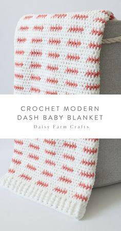 Free Pattern - Crochet Modern Dash Baby Blanket