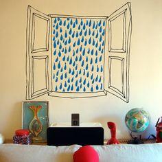 Vinilo Ventana lluvia by Aina Bestard ::: Rain Window wall sticker by Aina Bestard